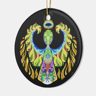 Psychedelic Flash ~Christmas~Ornament Round Ceramic Decoration
