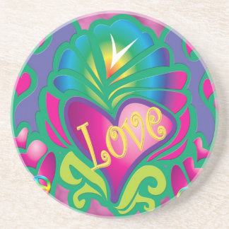 Psychedelic Floral Heart Coaster