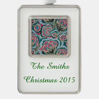 Psychedelic Floral with Glitter Effect Silver Plated Framed Ornament