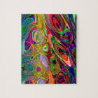 Psychedelic Florescent Abstract Twirls Jigsaw Puzzle