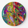 Psychedelic Florescent Abstract Twirls Large Clock