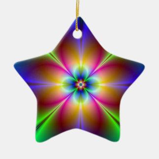 Psychedelic flower fractal ceramic star decoration