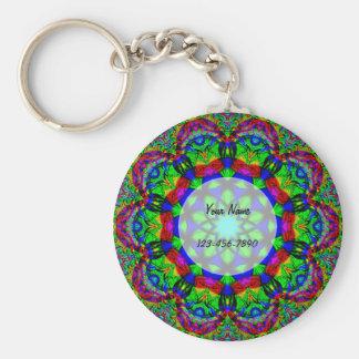 Psychedelic Flower Key Ring