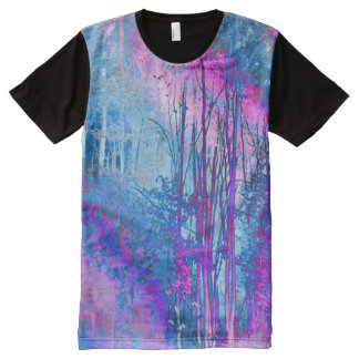 Psychedelic Forest (hot pink-sky blue) All-Over Print T-Shirt