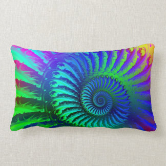 Psychedelic Fractal Blue Pattern Lumbar Pillow