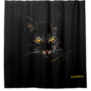 Psychedelic Fractal Cat Kitten Cool Funny Kitty Shower Curtain