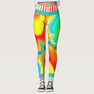 Psychedelic fractal colourful modern leggings