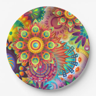 Psychedelic Garden Personalized Paper Plate