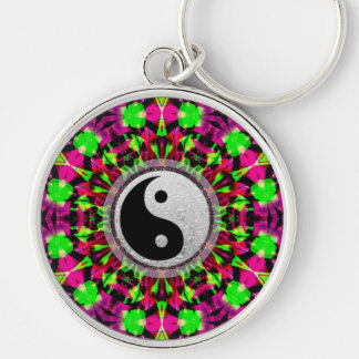 Psychedelic Geometric Yin Yang  Keychain
