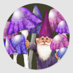 Psychedelic Gnome with Mushrooms Round Sticker