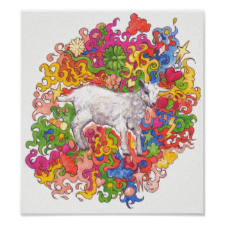 Psychedelic Goat Poster