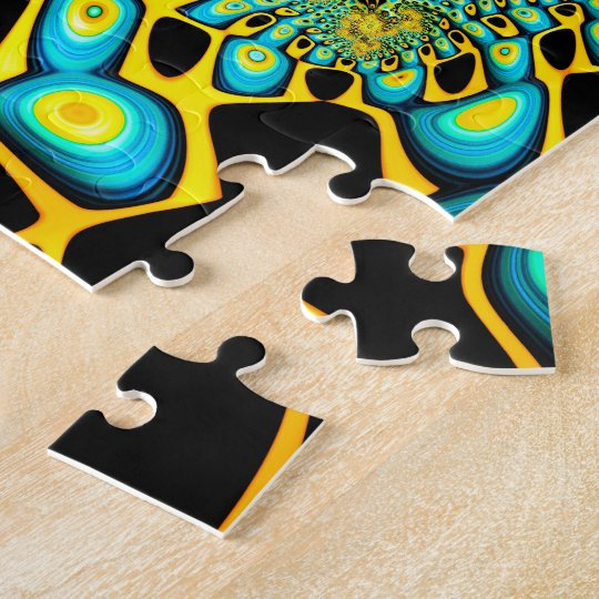 Psychedelic Gold Peacock Trippy Fractal Jigsaw Puzzle