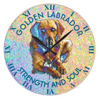 Psychedelic Golden Labrador Retriever Large Clock
