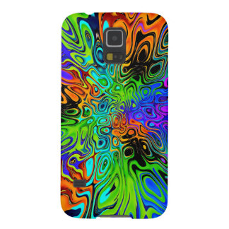 Psychedelic green orange purple cases for galaxy s5