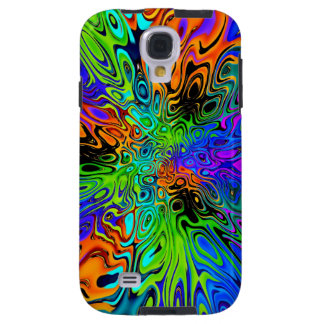 Psychedelic green orange purple galaxy s4 case