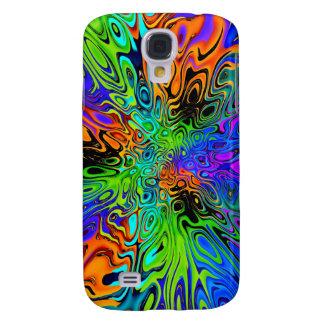 Psychedelic green orange purple samsung galaxy s4 cases