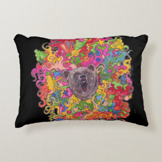 Psychedelic Growling Bear Decorative Cushion