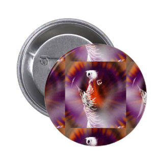 Psychedelic Grunge African Grey Parrot Pinback Buttons