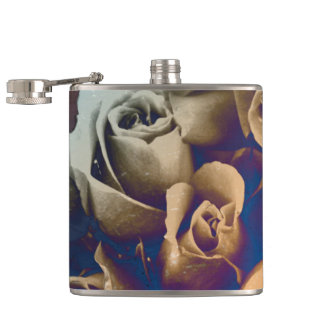 Psychedelic Grunge Roses Hip Flask