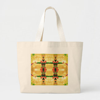 Psychedelic Guard Yellow Green Large Tote Bag