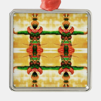 Psychedelic Guard Yellow Green Metal Ornament