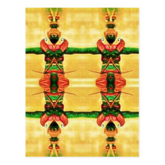 Psychedelic Guard Yellow Green Postcard