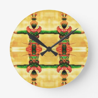 Psychedelic Guard Yellow Green Round Clock