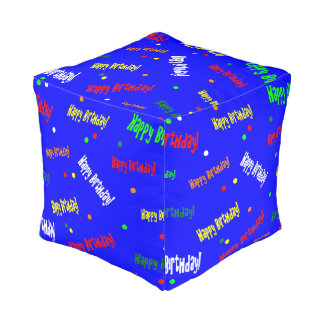 Psychedelic Happy Birthday! Foot Rest Pouf