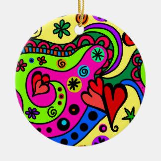 psychedelic hearts #3 ceramic ornament