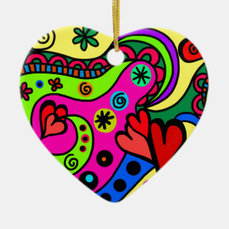 psychedelic hearts #3 ceramic ornament