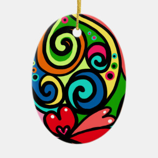 psychedelic hearts ceramic ornament
