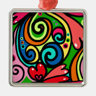 psychedelic hearts metal ornament