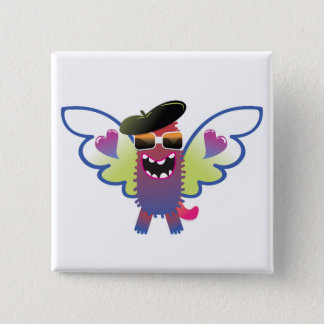 psychedelic hippie angel monster 15 cm square badge