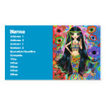Psychedelic Hippie Girl Mermaid with Butterflies Business Card Template