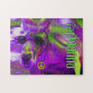 Psychedelic Hippie Peace Loving Kangaroo, Dude! Puzzles