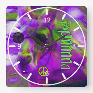 Psychedelic Hippie Peace Loving Kangaroo, Dude! Square Wall Clock