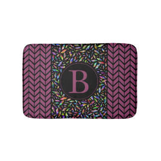 Psychedelic Initial Monogram & Chevron Boarders Bath Mat