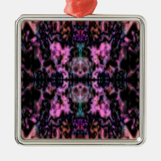 Psychedelic kaleidoscope pattern Silver-Colored square decoration