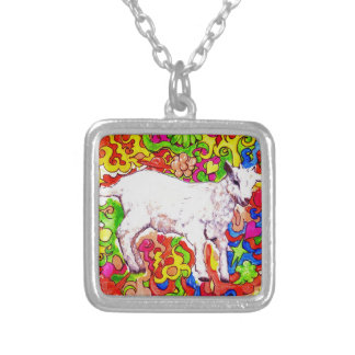 Psychedelic kid silver plated necklace