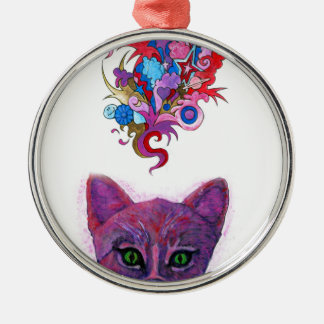 Psychedelic Kitten Metal Ornament