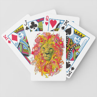 Psychedelic Lion Bicycle Playing Cards