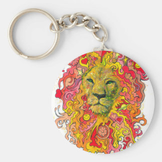 Psychedelic Lion Key Ring