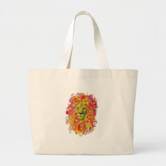 Psychedelic Lion Large Tote Bag