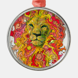 Psychedelic Lion Metal Ornament