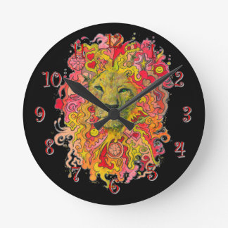 Psychedelic Lion Wall Clocks