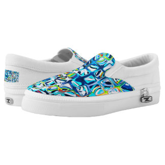psychedelic little colorful blue cubes #2 slip on shoes