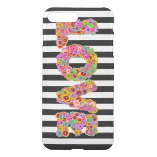 Psychedelic Love Flower letters striped background iPhone 7 Plus Case