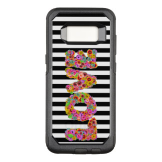 Psychedelic Love Flower letters striped background OtterBox Commuter Samsung Galaxy S8 Case