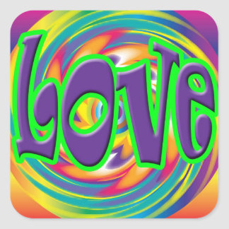 Psychedelic Love hippie Stickers