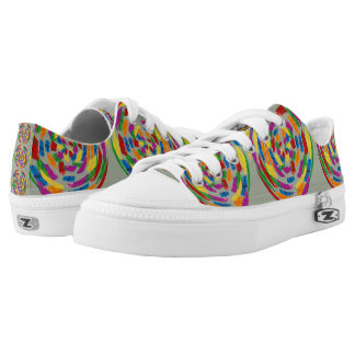 Psychedelic Mandala Design on Low Cut Sneakers